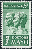 Postage stamp printed in USA, shows Drs. William and Charles Mayo, a sculpture by James Earle Fraser — Stock Photo