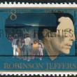 Postage stamp printed in USA, shows Robinson Jeffers, Man and Children of Carmel with Burro — Stock Photo
