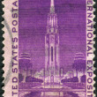 "Stock Photo: Postage stamp printed in USA, dedicated to Golden Gate International Exposition, SFrancisco, depicts ""Tower of Sun"""