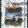 Stock Photo: Postage stamp printed in USA, dedicated to 350th anniversary Mayflower landing, shows Mayflower and Pilgrims