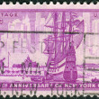 Postage stamp printed in USA, dedicated to the 300th anniversary New York City, shows Dutch Ship in New Amsterdam Harbor — Stock Photo #37936241