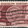 Postage stamp printed in USA, dedicated to the 150th anniversary of the Mississippi Territory, shows Map, Seal and Governor Winthrop Sargent — Stock Photo #37936773