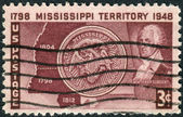 Postage stamp printed in USA, dedicated to the 150th anniversary of the Mississippi Territory, shows Map, Seal and Governor Winthrop Sargent — Stock Photo