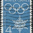 A postage stamp printed in the USA, dedicated to the Opening of the 8th Olympic Winter Games, Squaw Valley, shows the Olympic Rings and Snowflake — Stock Photo