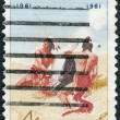 "Foto Stock: Postage stamps printed in USA, shows picture of Amon Carter Museum of Western Art, Fort Worth, Texas, ""Smoke Signal"" by Frederic Remington"