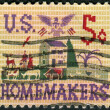 Stok fotoğraf: Postage stamp printed in USA, dedicated to 50th anniversary of passage of Smith-Lever Act, shows Farm Scene Sampler