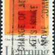 "Postage stamp printed in USA, shows picture of ""Homage to Square: Glow,"" by Josef Albers — Stock Photo #38056209"