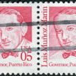 Stock Photo: Postage stamps printed in US(Block of 2 stamps), shows portrait 1st Governor of Commonwealth of Puerto Rico, Luis Munoz Marin