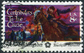 A postage stamp printed in USA, American Bicentennial Contributors to the Cause, shows Sybil Ludington — Stock Photo