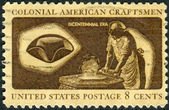 A postage stamp printed in USA, American Bicentennial Colonial American Craftsmen, shows Hatter — Stock Photo