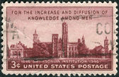 Postage stamp printed in the USA, dedicated to the Centenary of the establishment of the Smithsonian Institution, Washington, shows the building Smithsonian Institution — Stock Photo