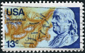 A postage stamp printed in the USA, dedicated to the 200th anniversary of the Independence of America, shows Benjamin Franklin, deputy postmaster general for the colonies and statesman — Stock Photo