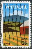 Postage stamp printed in the USA, is dedicated to Vermont Statehood Bicentennial, is a landscape in Vermont — Stock Photo