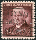 A postage stamp printed in USA, shows George Eastman, Inventor and Philanthropist — Stock Photo