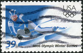 Postage stamp printed in the USA, is dedicated to the Olympic Winter Games in Turin, shows slalom — Stock Photo