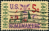 Postage stamp printed in the USA, dedicated to the 50th anniversary of the passage of the Smith-Lever Act, shows Farm Scene Sampler — Stok fotoğraf