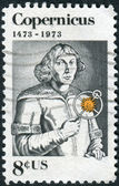 A postage stamp printed in USA, shows Nicolaus Copernicus, Polish astronomer — Stock Photo