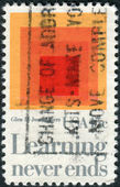 "A postage stamp printed in USA, shows a picture of the ""Homage to the Square: Glow,"" by Josef Albers — Stock Photo"