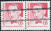 Postage stamps printed in USA (Block of 2 stamps), shows a portrait 1st Governor of the Commonwealth of Puerto Rico, Luis Munoz Marin — Stock Photo