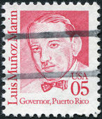Postage stamps printed in USA, shows a portrait 1st Governor of the Commonwealth of Puerto Rico, Luis Munoz Marin — Stock Photo