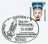 Postage stamp printed in Germany, shows a Queen Nefertiti bust, Egyptian Museum, Berlin. Stamp of 1997 devoted to the 40th anniversary of spaceflight — Stock Photo