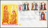 Postage stamp and envelope printed in Germany, shows a series of medieval miniatures of young singers. Envelope and stamp first day used to Surtax for benefit of young people — Stock Photo