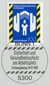 Postage stamps printed in Germany, dedicated to Health and Safety In Workplace — Zdjęcie stockowe