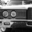 Stock Photo: Headlamp full-size car Ford LTD (Americas), black and white