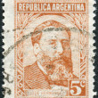 Stock Photo: Postage stamp printed in Argentina,  shows journalist, poet and politician, Jose Hernandez