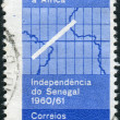 Stock Photo: Postage stamp printed in Brazil, dedicated Visit of Afonso Arinos, Braziliforeign minister, to Senegal to attend its independence ceremonies