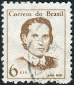 Postage stamp printed in Brazil, a Brazilian nurse, considered the first in her country, Ana Justina Ferreira Neri — Stock Photo