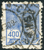Postage stamp printed in Brazil, shows the Roman god of commerce Mercury — Stock Photo