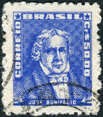 Postage stamp printed in Brazil, shows a Brazilian statesman, naturalist, professor and poet, Josa Bonifacio de Andrada e Silva — Stock Photo