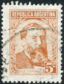 Postage stamp printed in Argentina,  shows a journalist, poet and politician, Jose Hernandez — Stock Photo