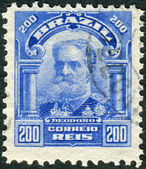 Postage stamp printed in Brazil shows the first Brazilian president, Manuel Deodoro da Fonseca — Stock Photo