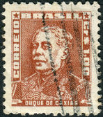 Postage stamp printed in Brazil, shows a military officer, politician and monarchist, Luis Alves de Lima e Silva, Duke of Caxias — Stock Photo
