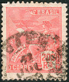 Postage stamp printed in Brazil, dedicated to air travel — Stock Photo