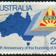 AUSTRALI- CIRC1981: Postage stamp printed in Australia, dedicated to 50th anniversary of APEX, shows Map of Australia, APEX Emblem, circ1981 — стоковое фото #40361697