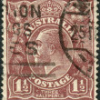 AUSTRALI- CIRC1919: Postage stamp printed in Australishows King of United Kingdom and British Dominions, and Emperor of India, George V, circ1919 — Stock Photo #40363601