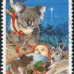 AUSTRALIA - CIRCA 1990: Postage stamp printed in Australia, Christmas Issue, shows Baby Jesus Nativity, koala and kangaroo, circa 1990 — Stock Photo