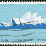 AUSTRALIA - CIRCA 1973: Postage stamp printed in Australia shows the Opera House, Sydney, circa 1973 — Stock Photo