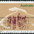 AUSTRALI- CIRC1973: Postage stamp printed in Australia, dedicated to 50th anniversary of Legacy, shows Hand Protecting Playing Children, circ1973 — Stock Photo #40366509