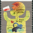 AUSTRALIA - CIRCA 1990: Postage stamp printed in Australia, Community health, shows a child's drawing, Don't drink and Drive, circa 1990 — Stock Photo