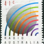 AUSTRALIA - CIRCA 1989: Postage stamp printed in Australia, dedicated to the 50th anniversary of Radio Australia, circa 1989 — Stock Photo