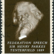 Stock Photo: AUSTRALI- CIRC1989: Postage stamp printed in Australishows Advocate of Federation of Six Colonies, Sir Henry Parkes, circ1989