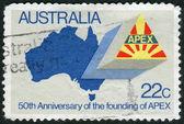 AUSTRALIA - CIRCA 1981: Postage stamp printed in Australia, dedicated to the 50th anniversary of APEX, shows Map of Australia, APEX Emblem, circa 1981 — Стоковое фото