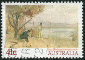 "AUSTRALIA - CIRCA 1989: Postage stamp printed in Australia, shows a painting ""Impression"" by Tom Roberts, circa 1989 — Stock Photo"