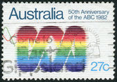 AUSTRALIA - CIRCA 1982: Postage stamp printed in Australia, dedicated to the 50th anniversary of Australian Broadcasting Commission, shows Emblem, circa 1982 — Stock Photo