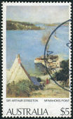 "AUSTRALIA - CIRCA 1979: Postage stamp printed in Australia, shows a picture of ""McMahon's Point"" by Sir Arthur Streeton, circa 1979 — Stock Photo"