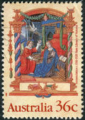 AUSTRALIA - CIRCA 1989: Postage stamp printed in Australia, Christmas Issue, shows Illuminations: Annunciation, from the Nicholai Joseph Foucault Book of Hours (c.1510-20), circa 1989 — Stock Photo